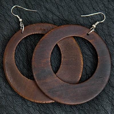 Dark Brown Wooden Earrings