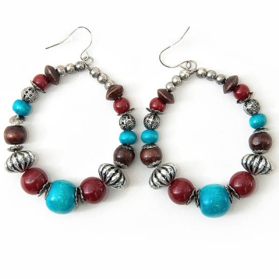 """Earrings """"Turquoise and Brown"""""""
