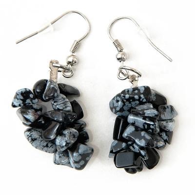 "Earrings ""Black and Grey Stones"""