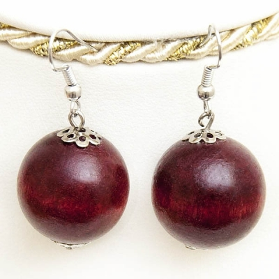 Deep Red Wooden Earrings
