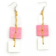 """Earrings """"Three Colored Tiles"""""""