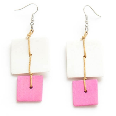 """Earrings """"Two Colored Tiles"""""""