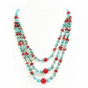 "Naszyjnik ""Turquoise and Red"""